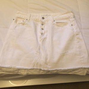 Zara Basic Denim Skirt (White)